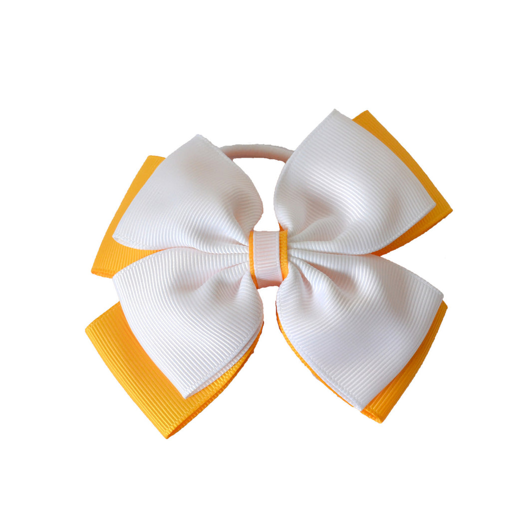 Opal Bow Hair Bobble White / Yellow