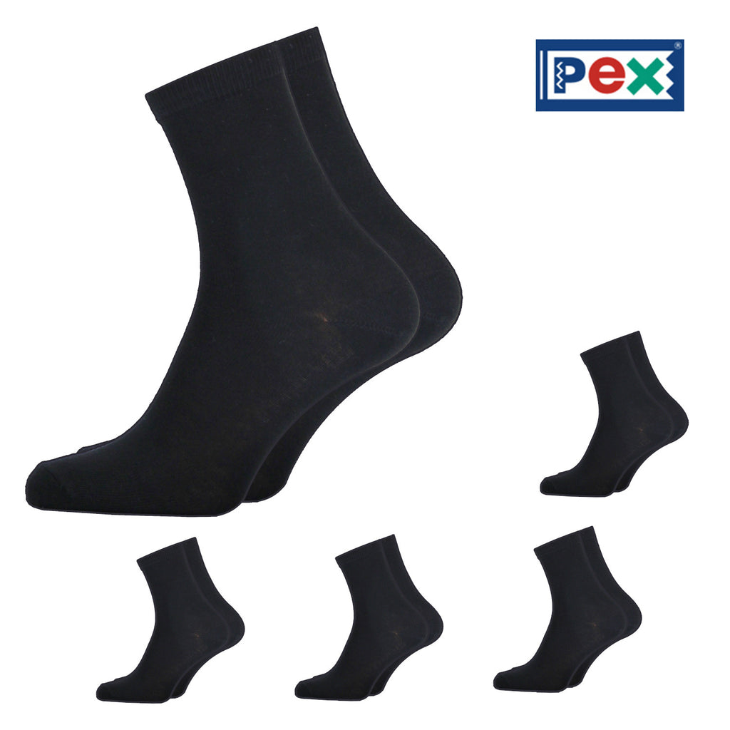 Pex Award 5 Pair Pack of Black Ankle Socks