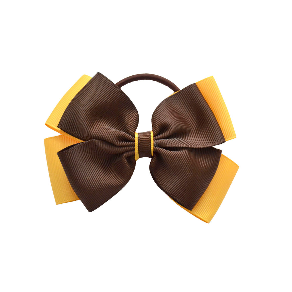 Opal Bow Hair Bobble Brown / Yellow