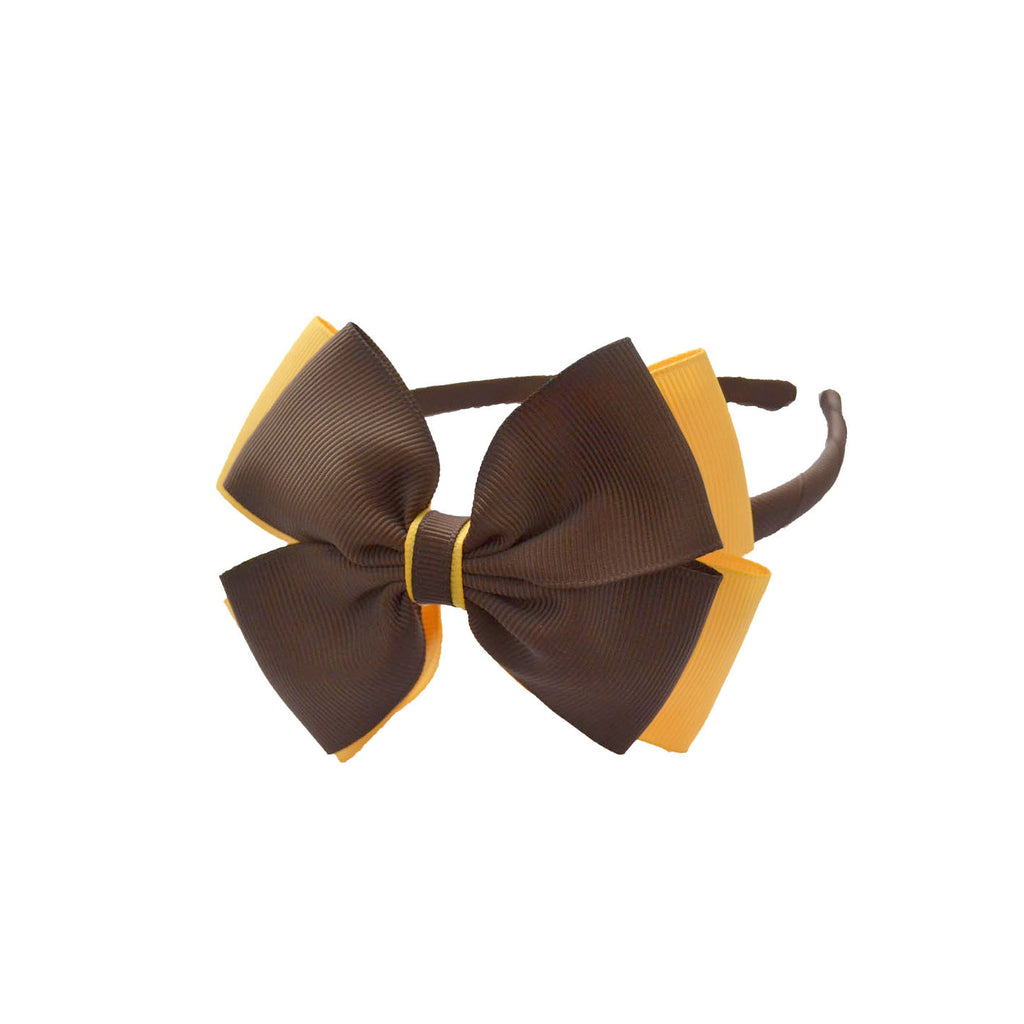 Opal Bow Headband Brown / Yellow