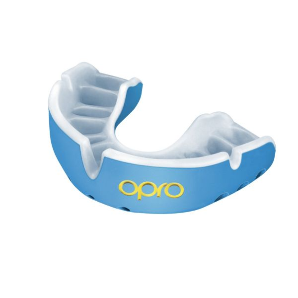 Opro Shield Gold Mouth Guard - Sky Blue/Pearl