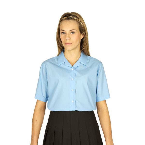 Pack of 2 Short Sleeve Polycotton Rever Collar Blue Blouses by Trutex