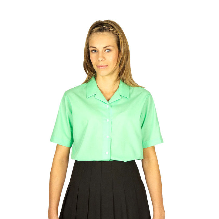 Pack of 2 Short Sleeve Polycotton Rever Collar Green Blouses by Trutex