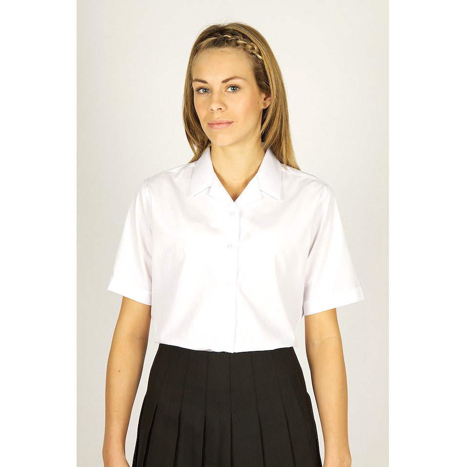 Pack of 2 Short Sleeve Polycotton Rever Collar White Blouses by Trutex
