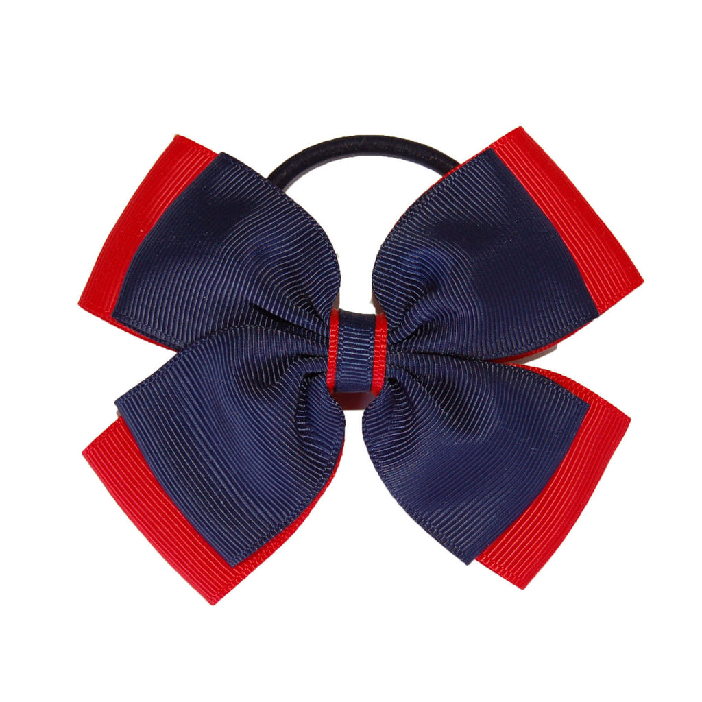 Opal Bow Hair Bobble Navy / Red