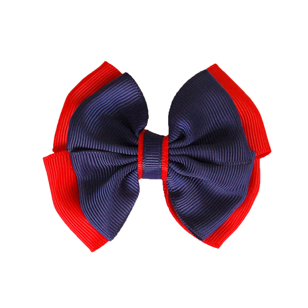 Opal Bow Hair Clip Navy / Red