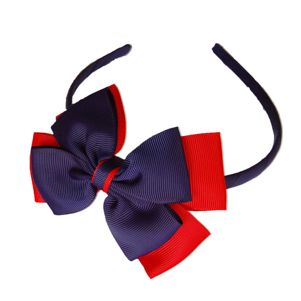 Opal Bow Headband Navy / Red