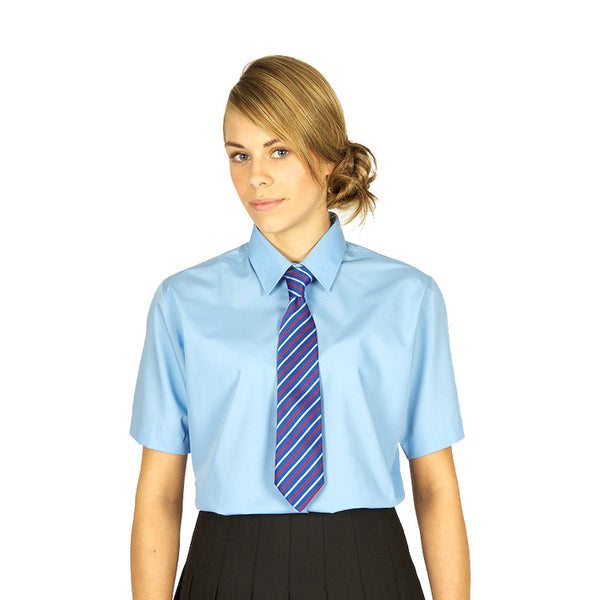 Pack of 2 Short Sleeve Polycotton Easycare Blue Blouses by Trutex