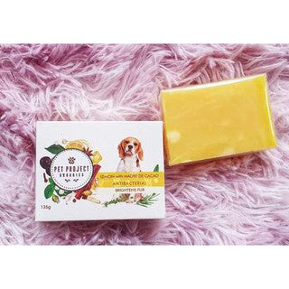 FUR BRIGHTENING & ANTIBACTERIAL: Organic Lemon with Madre de Cacao Dog Soap