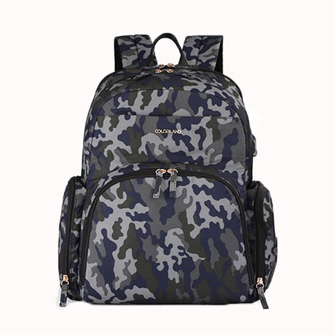Colorland BP155-D Kate Baby Changing Backpack Gray Camo