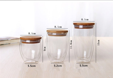 EZ Depot Double Wall Glass with Bamboo Lid