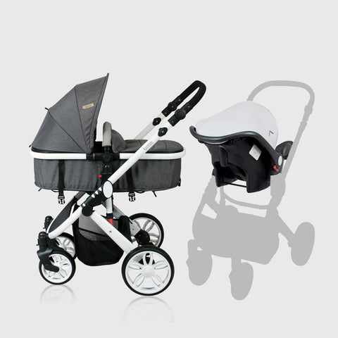 Sydney Stroller with Car Seat - White Frame