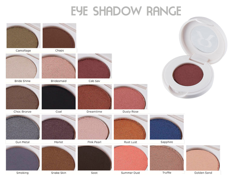 Eye Shadows Cased- 100% Mineral pressed powder