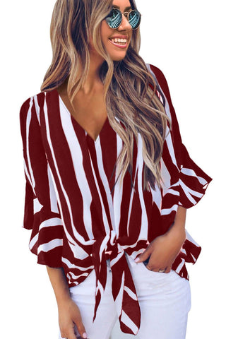 Vertical stripe Blouse port wine color