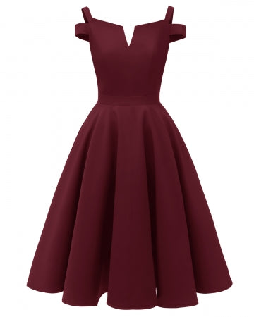 Kendall Fit & Flare Dress (Wine)