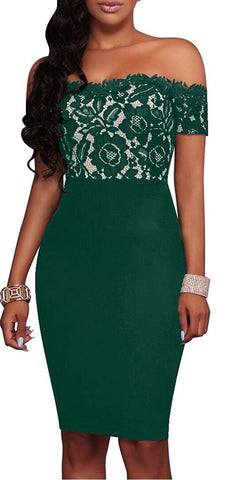 Maggie Off Shoulder Dress (Green)