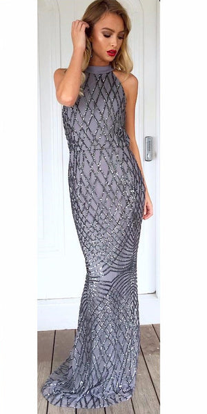 Floor Length Sequin Gown (silver)