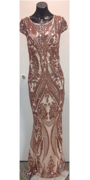 Capped Sleeve Long Sequin Dress (Rose Gold)