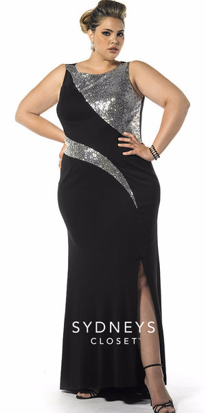 Black & Silver Formal Gown (plus)