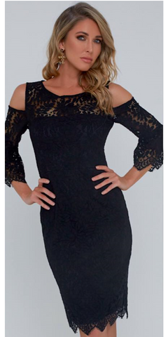 Black Lace Cut Out Shoulder Dress