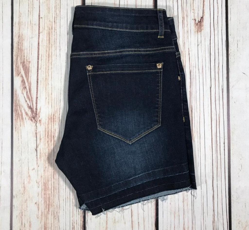 {OLIVIA} Distressed Release Hem Shorts