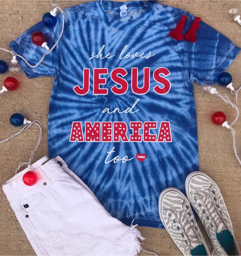 {JESUS AND AMERICA} Patriotic Blue Acid Wash Crew Neck Tee