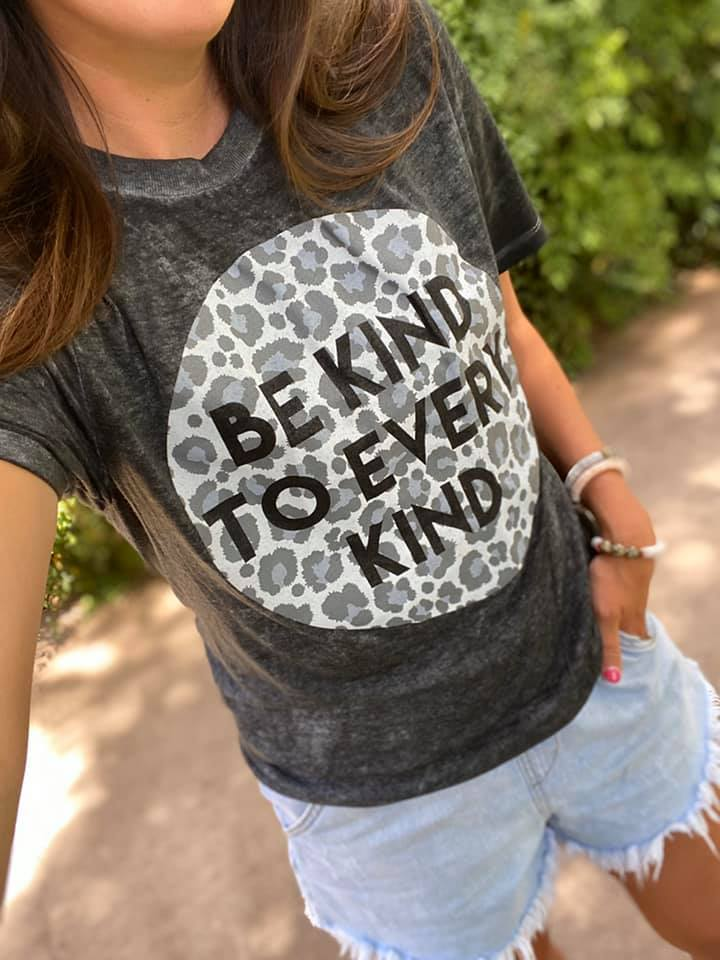 Grayscale Leopard {BE KIND TO EVERY KIND} Char-Black Burn Out Crew Neck Tee