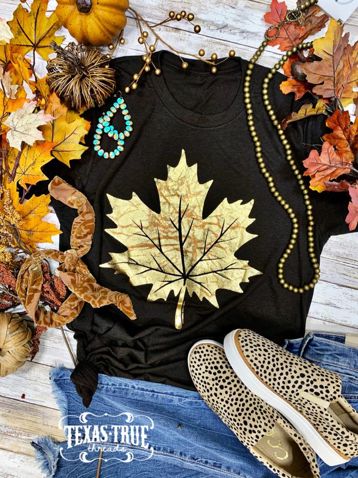 {FALL-ING FOR FALL} Gorgeous Foil Leaf Espresso Crew Neck Tee