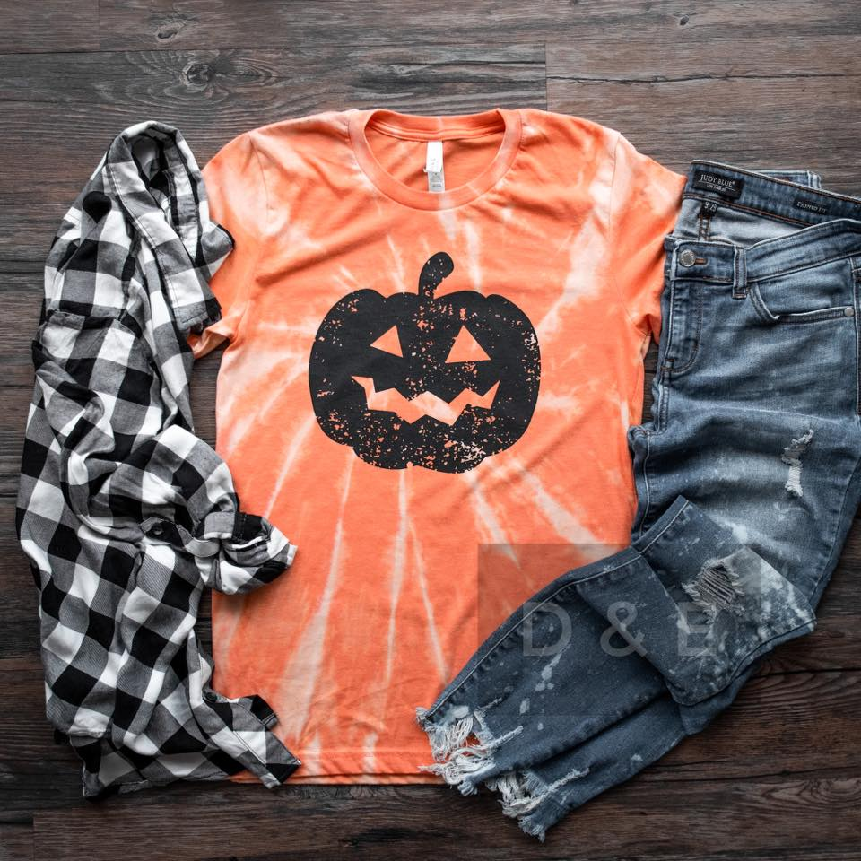 {JACK O'LANTERN} Tie Dye Pumpkin Orange Crew Neck Tee
