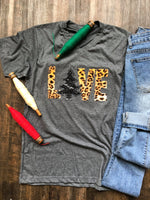 {CHRISTMAS LOVE} Appliqued LEOPARD + Sequins Christmas Tree Gray V-Neck Tee