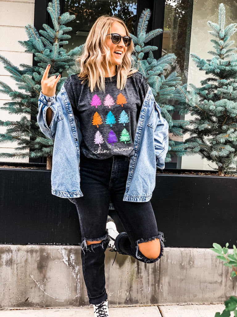 Colorful Trees {ROCKIN' AROUND} Black Acid Wash Crew Neck Tee