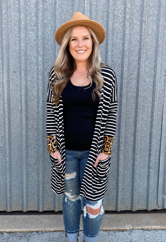 {GRACE}  Black + White Striped + Leopard Accent Cardigan with Pockets {SIZE DOWN}