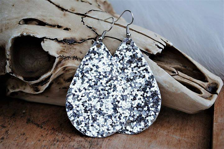 """Glamorous"" Silver Glitter Chunky Teardrop Earrings"