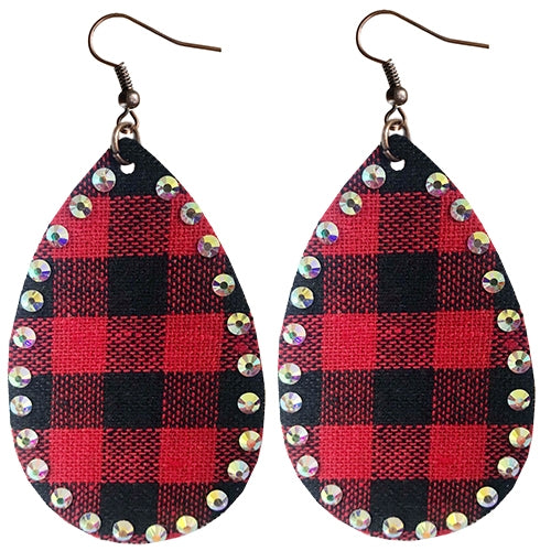 {PLAID SPARKLES} Red + Black Buffalo Plaid AB Stones LARGE Teardrop Earrings