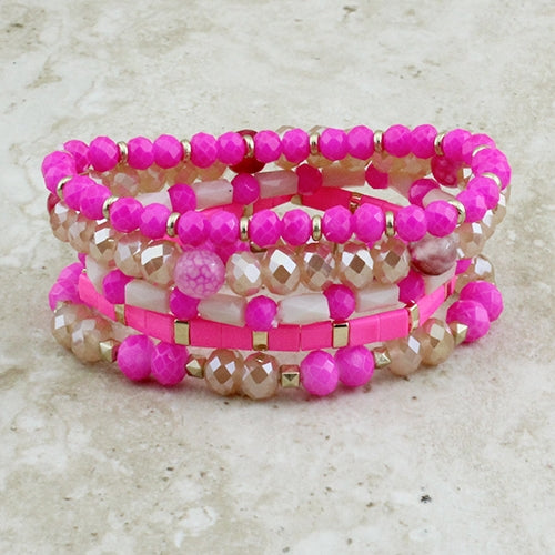 {LOVE SHACK} Hot Pink Bracelet Set (Set of 5)