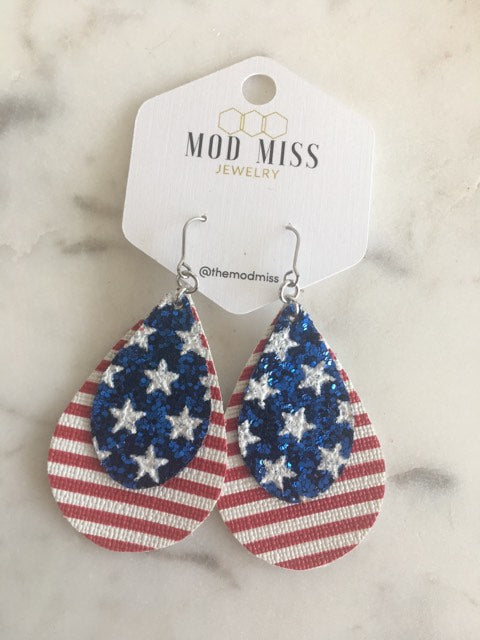 """Spangle"" Patriotic Double Chunky Teardrop Stacked Earrings"