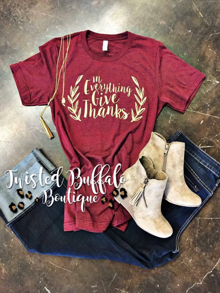 {IN EVERYTHING GIVE THANKS} Metallic Gold Cardinal Crew Neck Tee