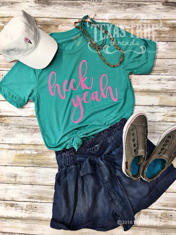 {HECK YEAH} Hot Pink + Sea Green Crew Neck Tee