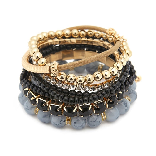 """Pippa"" BLACK Multi-Layer Stretch Bead Bracelet Set"