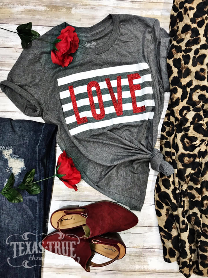 {YOU'RE STILL THE ONE} White Stripes + RED Glitter LOVE Gray Crew Neck Tee