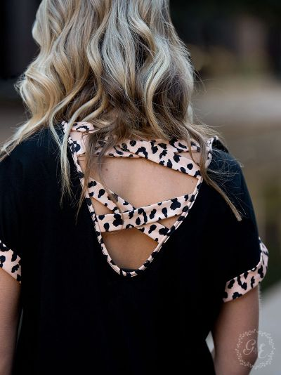 {STUNNING IN LEOPARD} Check Out the Back! Super Soft Black Top