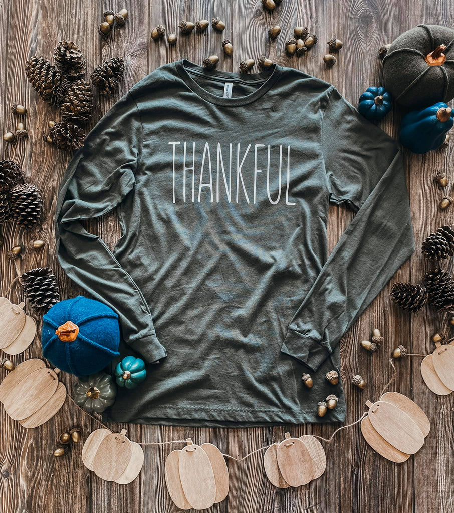 {THANKFUL} Olive Green Long Sleeve Crew Neck Tee