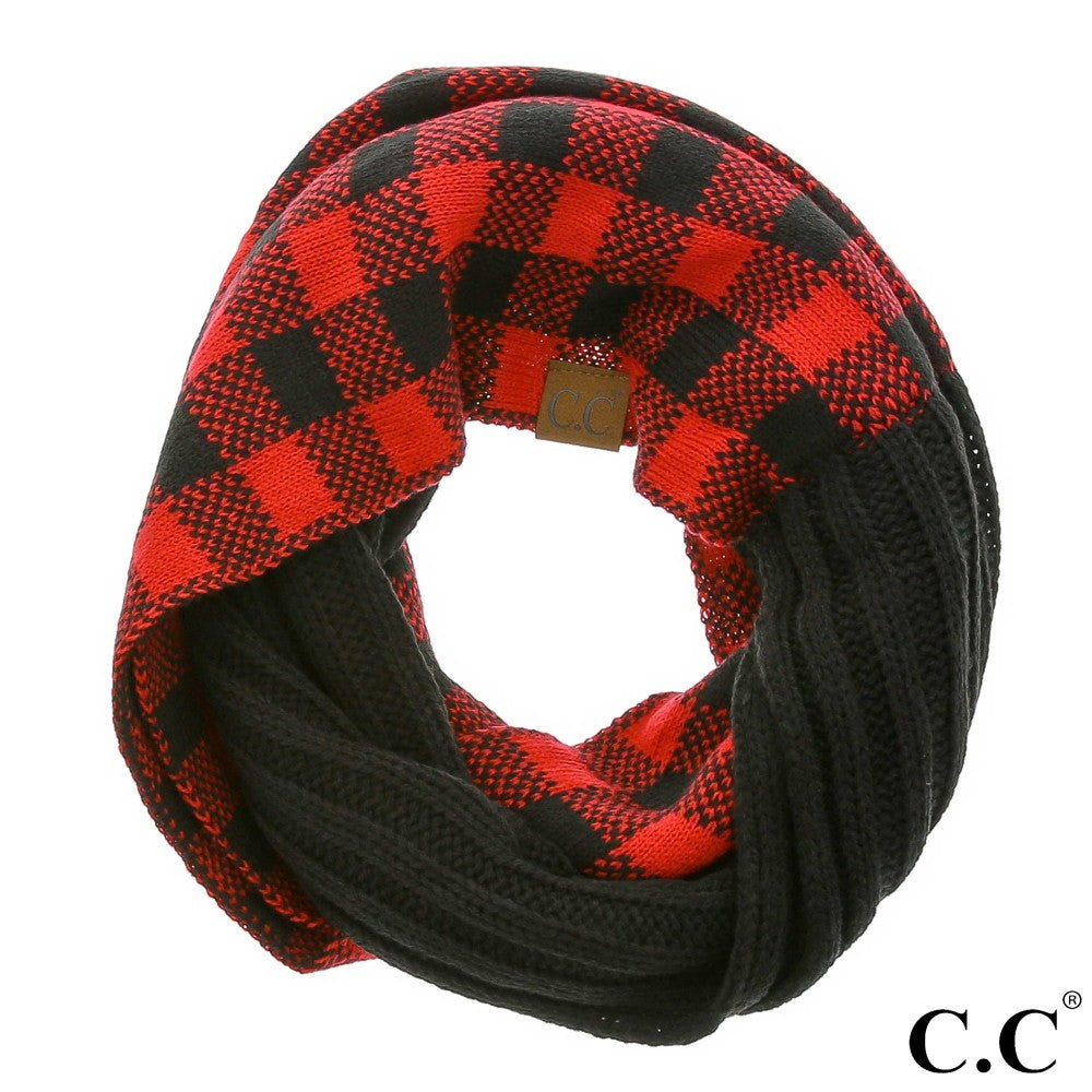 {DARLENE} Red + Black Buffalo Plaid Infinity SCARF CC Beanie