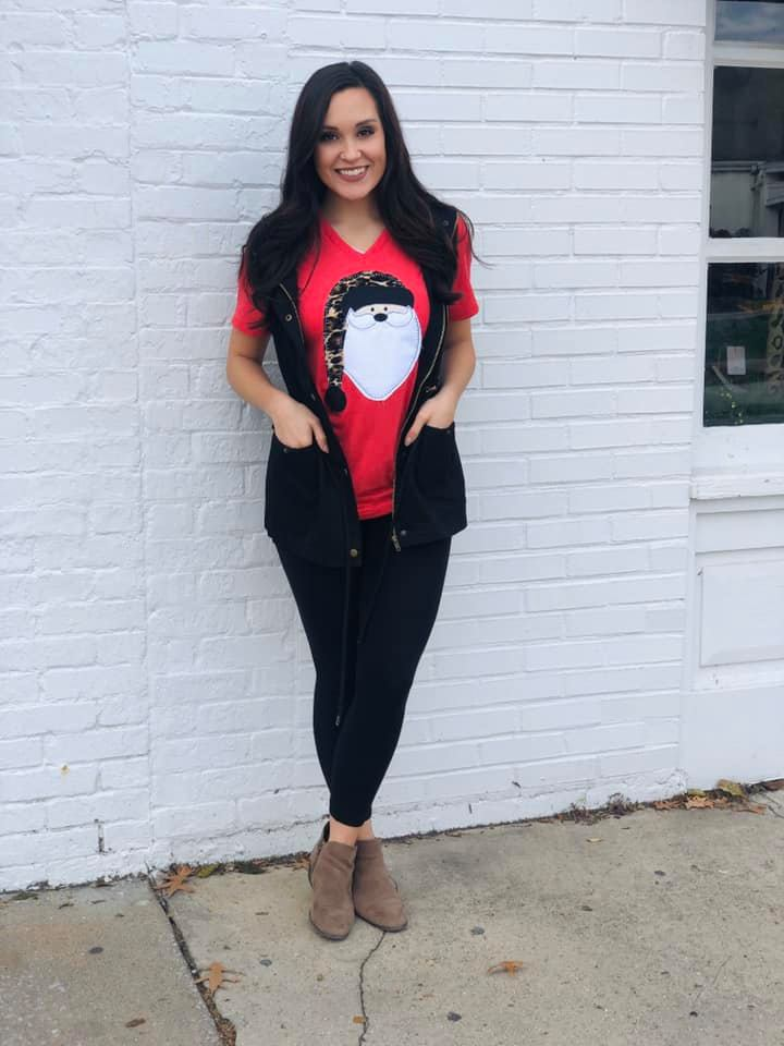 {SANTA BABY} Appliqued Leopard Hat Red V-Neck Tee