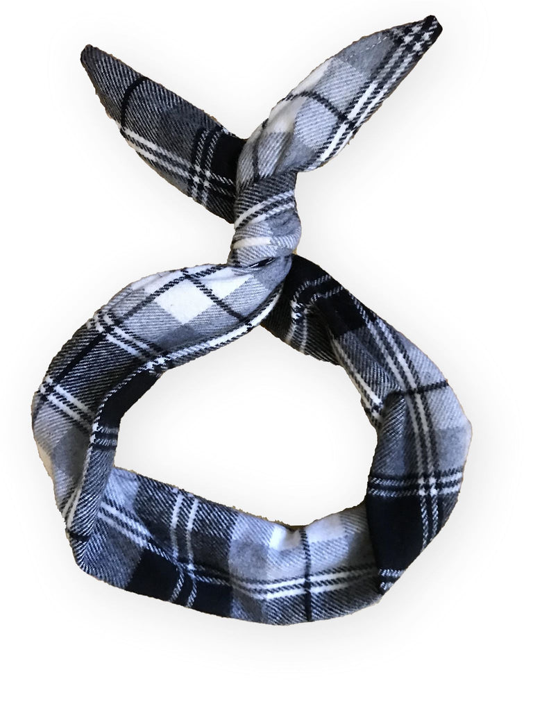 {WHITE + BLACK BUFFALO PLAID FLANNEL} Headband With A Twist