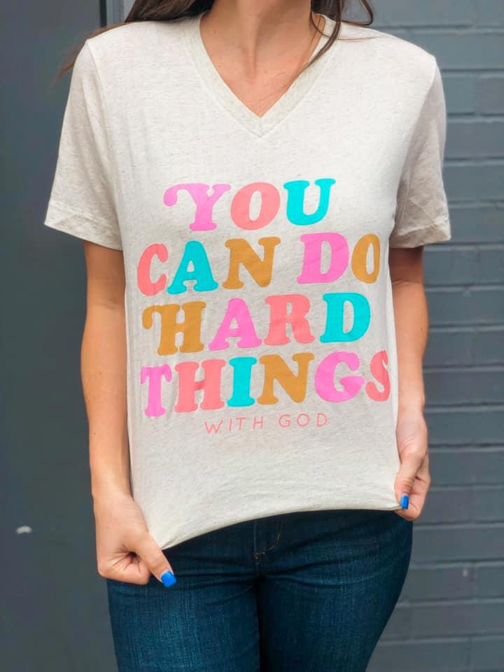 {YOU CAN DO HARD THINGS WITH GOD} Retro Oatmeal V-Neck Tee
