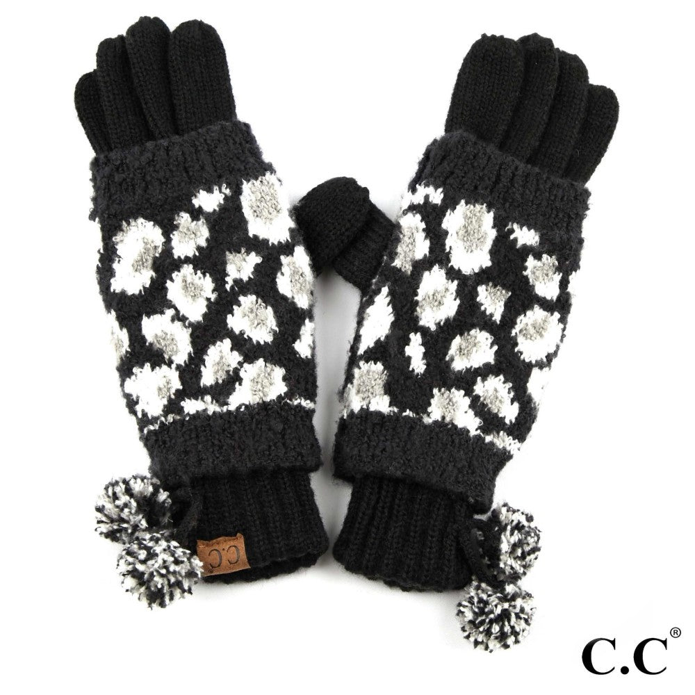 GLOVES {RACHELLE} Black + White LEOPARD Pom Pom CC Beanie Gloves