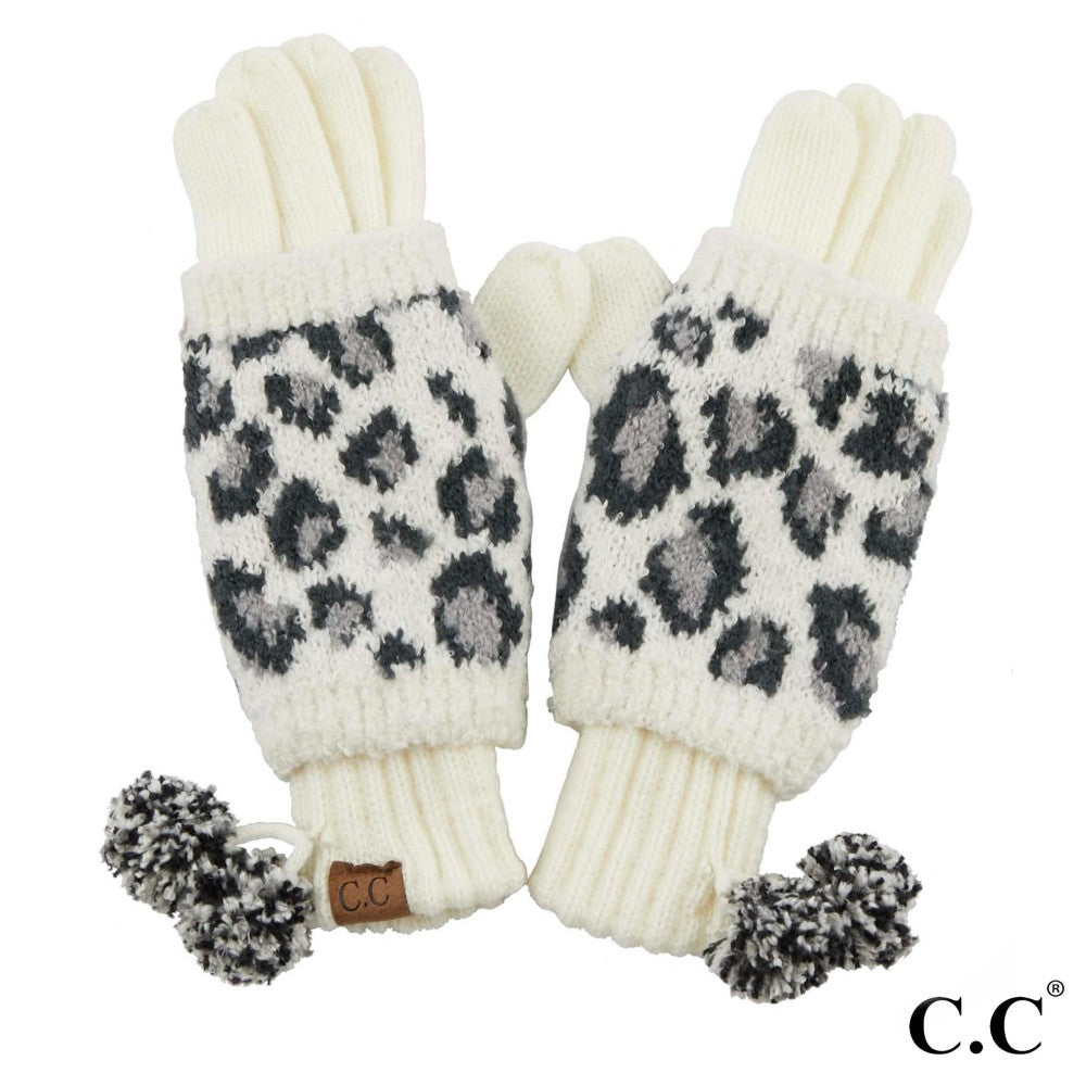 GLOVES {JUNE} White, Black + Gray LEOPARD Pom Pom CC Beanie Gloves