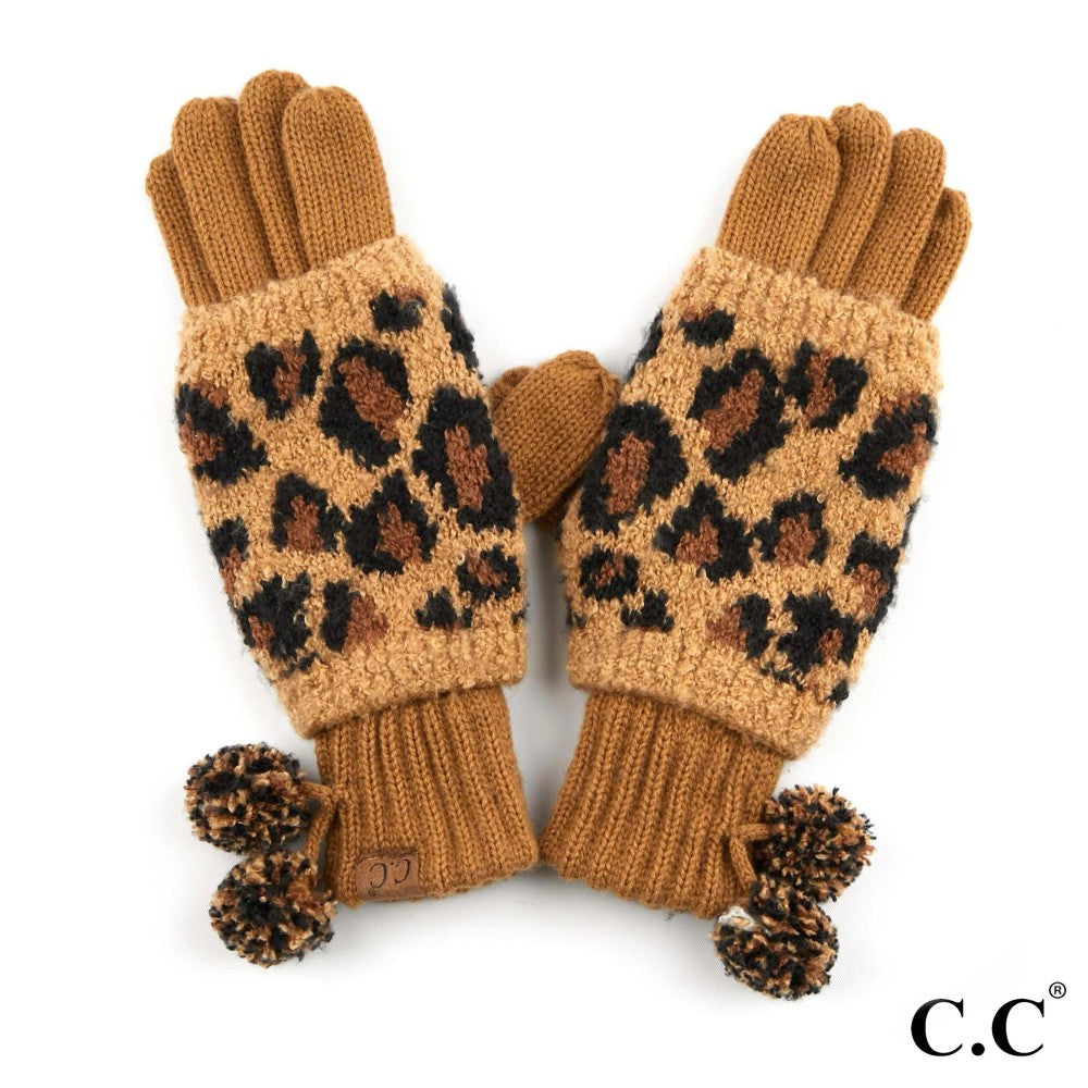GLOVES {REAGAN} Latte + Black LEOPARD Pom Pom CC Beanie Gloves