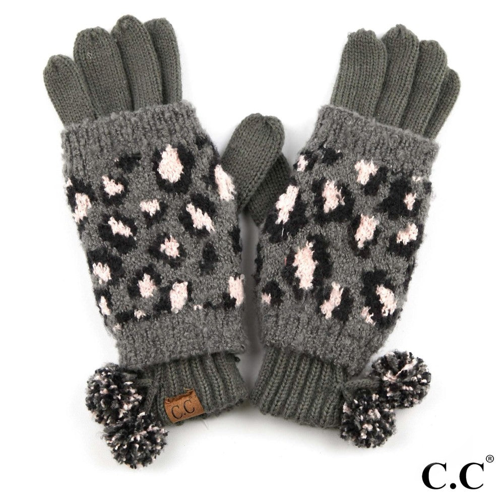 GLOVES {REMMI} Gray + Blush Pink LEOPARD Pom Pom CC Beanie Gloves
